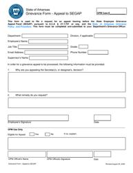 """Grievance Form - Appeal to Segap"" - Arkansas"