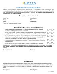 """Conflict of Interest Disclosure Form"" - Arizona"
