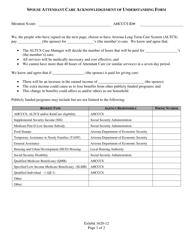 "Exhibit 1620-12 ""Spouse Attendant Care Acknowledgement of Understanding Form"" - Arizona"