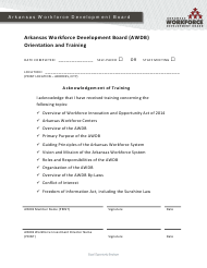"""Arkansas Workforce Development Board (Awdb) Orientation and Training Acknowledgement of Training"" - Arkansas"