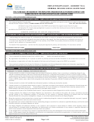 """Form CRR010 """"Employee/Applicant Consent to a Criminal Record Check"""" - British Columbia, Canada"""