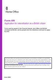 "Form AN ""Application for Naturalisation as a British Citizen"" - United Kingdom"