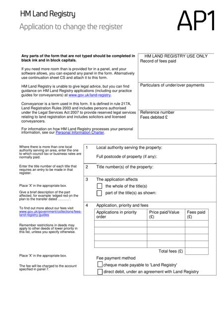 Form AP1  Printable Pdf