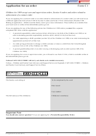 "Form C1 ""Application for an Order"" - United Kingdom"