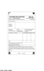 "Form CN22 ""Customs Declaration"" - United Kingdom"