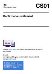 "Form CS01 ""Confirmation Statement"" - United Kingdom"