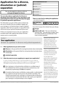 "Form D8 ""Application for a Divorce, Dissolution or (Judicial) Separation"" - United Kingdom"
