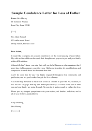 "Sample ""Condolence Letter for Loss of Father"""