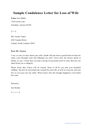 "Sample ""Condolence Letter for Loss of Wife"""