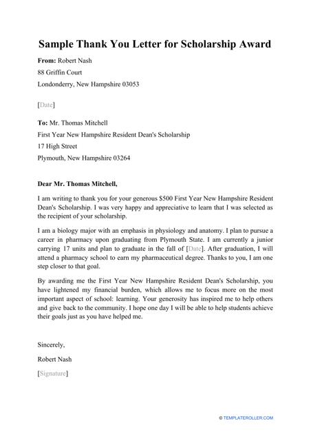 "Sample ""Thank You Letter for Scholarship Award"" Download Pdf"