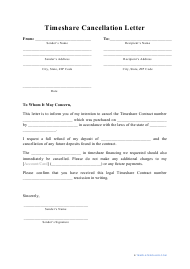 """Timeshare Cancellation Letter Template"""