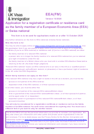 """Form EEA(FM) """"Application for a Registration Certificate or Residence Card as the Family Member of a European Economic Area (Eea) or Swiss National"""" - United Kingdom"""