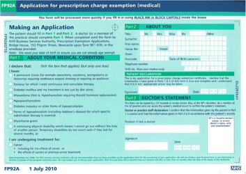 "Form FP92A ""Application for Prescription Charge Exemption Medical"" - United Kingdom"