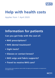 "Form HC11 ""Help With Health Costs"" - United Kingdom"