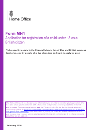 """Form MN1 """"Application for Registration of a Child Under 18 as a British Citizen"""" - United Kingdom"""