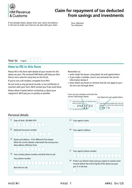 Form R40  Printable Pdf