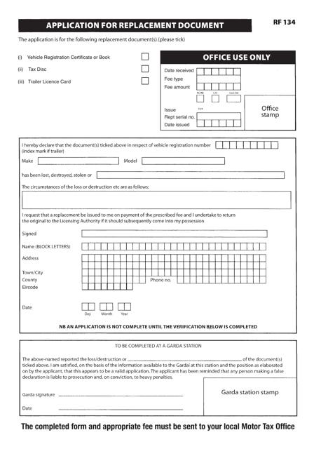 Form RF134  Printable Pdf