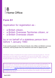 "Form S1 ""Application for Registration as a British Citizen, a British Overseas Territories Citizen, or a British Overseas Citizen"" - United Kingdom"