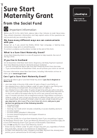 "Form SF100 ""Sure Start Maternity Grant From the Social Fund"" - United Kingdom"