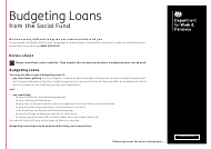 "Form SF500 ""Budgeting Loans From the Social Fund"" - United Kingdom"