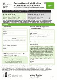 "Form V888 ""Request by an Individual for Information About a Vehicle"" - United Kingdom"