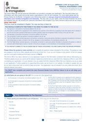 """Form VAF4A Appendix 2 """"Financial Requirement Form"""" - United Kingdom"""