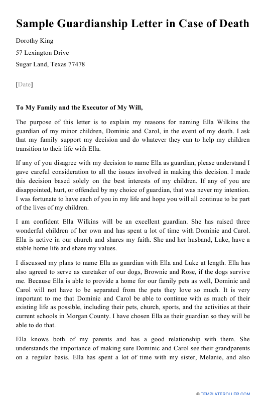 "Sample ""Guardianship Letter in Case of Death"" Download Pdf"