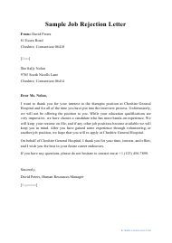 "Sample ""Job Rejection Letter"""