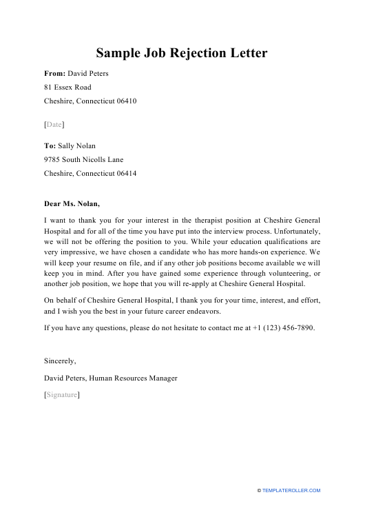 Free Rejection Letter Templates And Samples Download Pdf Print Templateroller