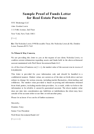 """Sample """"Proof of Funds Letter for Real Estate Purchase"""""""