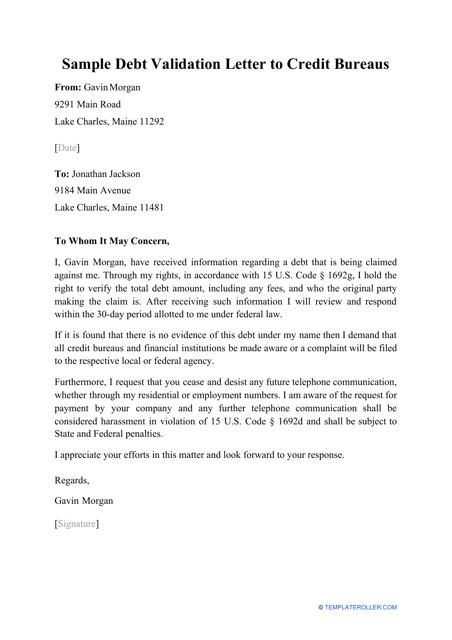 """Sample """"Debt Validation Letter to Credit Bureaus"""" Download Pdf"""