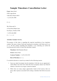 "Sample ""Timeshare Cancellation Letter"""