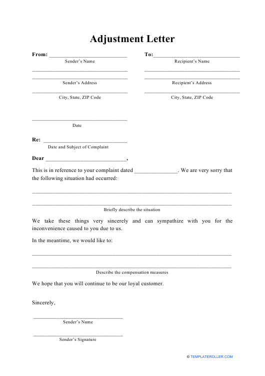 """Adjustment Letter Template"" Download Pdf"