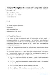 "Sample ""Workplace Harassment Complaint Letter"""