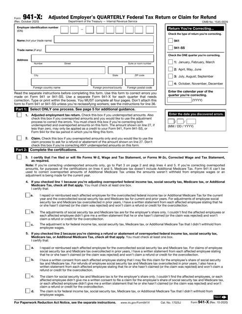 IRS Form 941-X  Printable Pdf