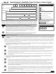 "IRS Form 941-X ""Adjusted Employer's Quarterly Federal Tax Return or Claim for Refund"""