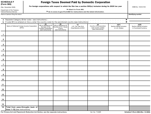 IRS Form 965 Schedule F Printable Pdf
