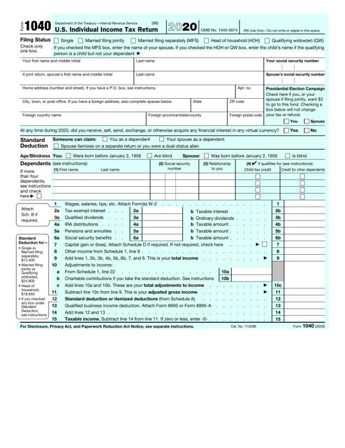 IRS Form 1040 2020 Printable Pdf