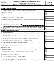 """IRS Form 1040 Schedule 1 """"Additional Income and Adjustments to Income"""", 2020"""