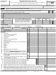 """IRS Form 1040 Schedule E """"Supplemental Income and Loss"""", 2020"""