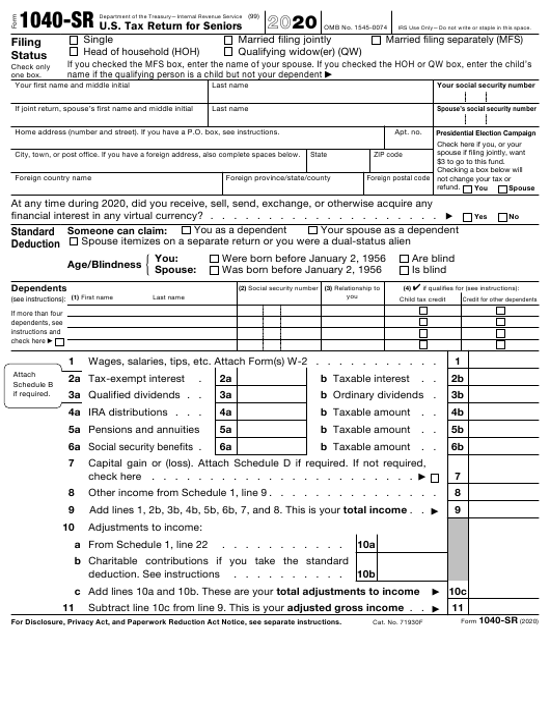 IRS Form 1040-SR 2020 Printable Pdf
