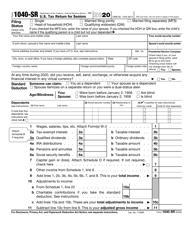 """IRS Form 1040-SR """"U.S. Tax Return for Seniors"""""""