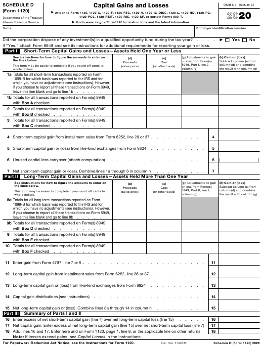 IRS Form 1120 Schedule D 2020 Printable Pdf