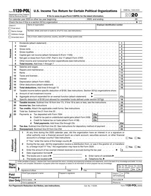 IRS Form 1120-POL 2020 Printable Pdf