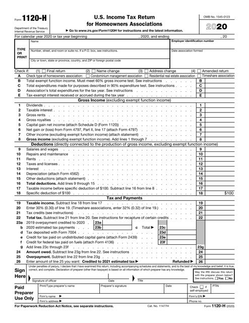 IRS Form 1120-H 2020 Printable Pdf