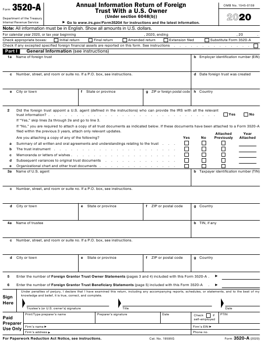 IRS Form 3520-A 2020 Printable Pdf