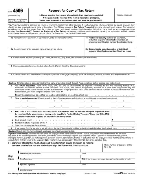 IRS Form 4506 Printable Pdf