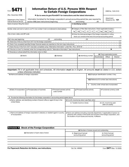 IRS Form 5471 Printable Pdf