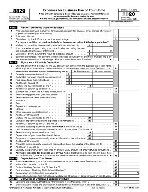 IRS Form 8829 2020 Printable Pdf