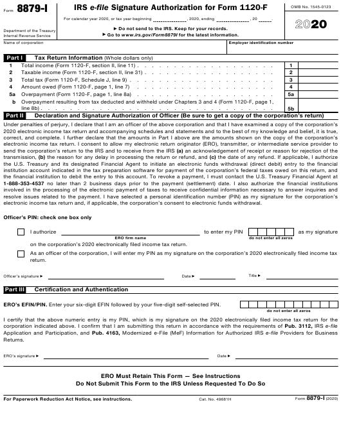 IRS Form 8879-I 2020 Printable Pdf